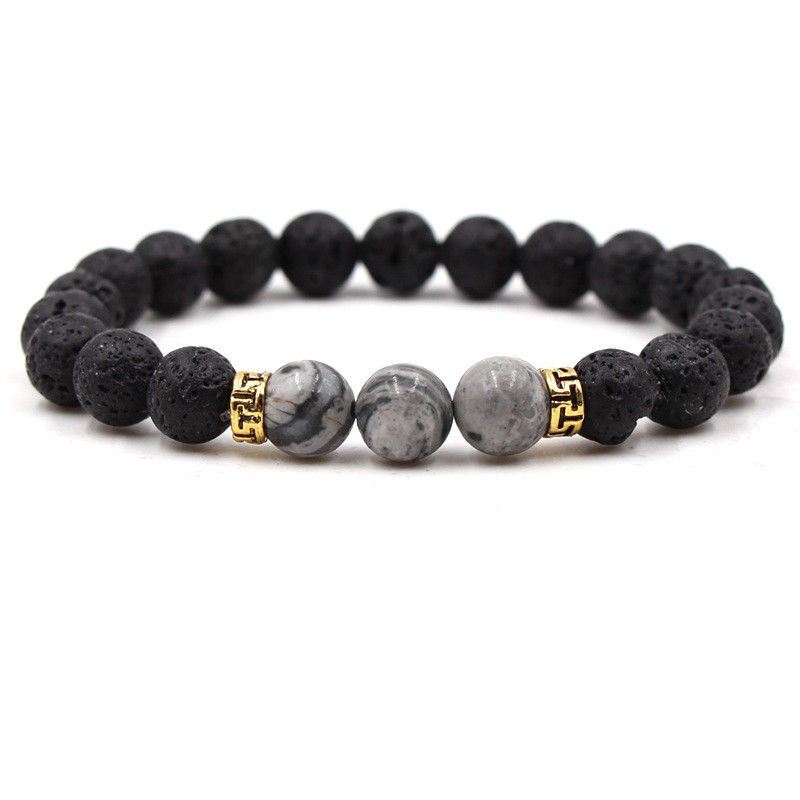 Lava Rock Bracelet Buddha Head Beaded Natural Stone Agate Grey