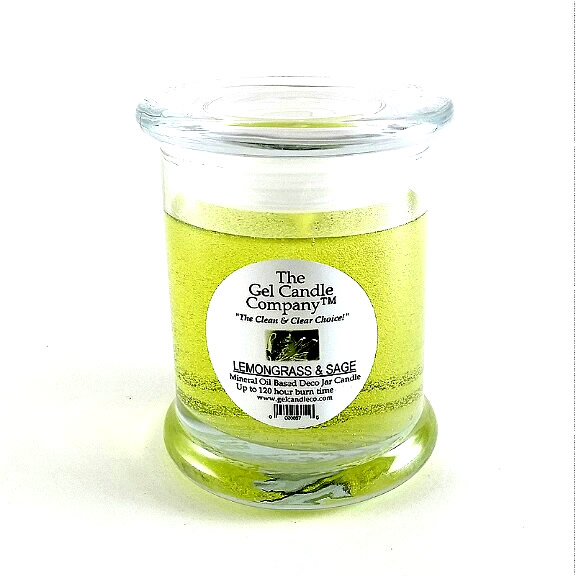 Lemongrass & Sage Scented Gel Candle - 120 Hour Deco Jar