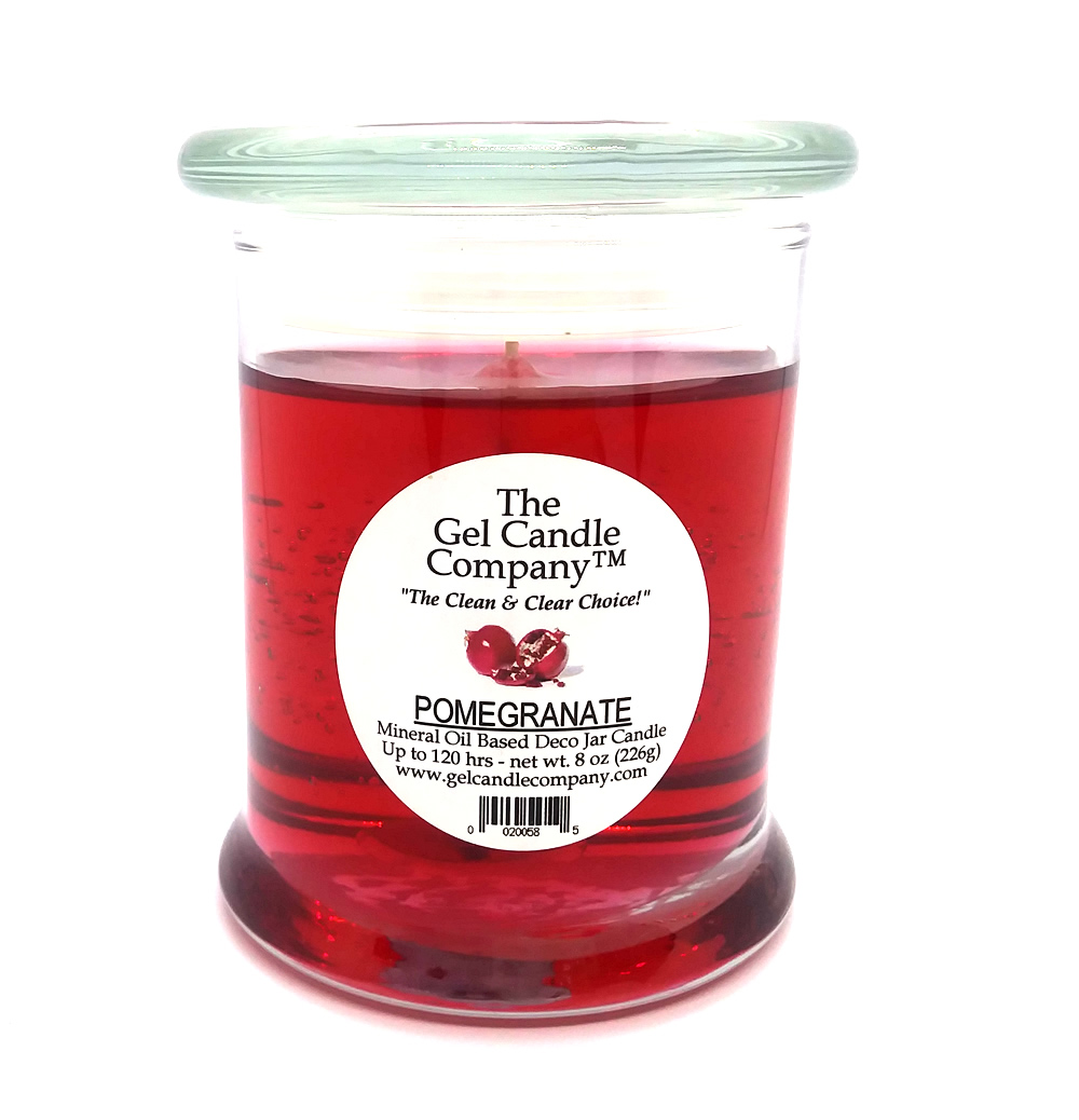 Pomegranate Scented Gel Candle - 120 Hour Deco Jar