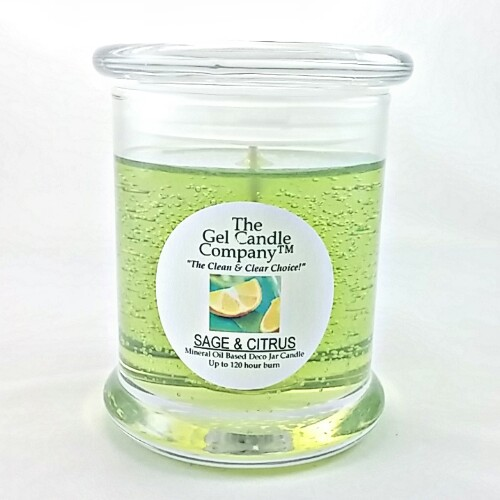 Sage and Citrus Scented Gel Candle - 120 Hour Deco Jar
