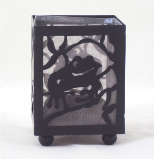Hand Painted Shadow Play Tea Light Candle Holder - Frog