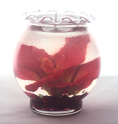 Red Hibiscus Refillable Forever Gel Candle Design by Deb