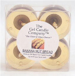 Banana Nut Bread Scented Gel Candle Tea Lights - 4 pk.