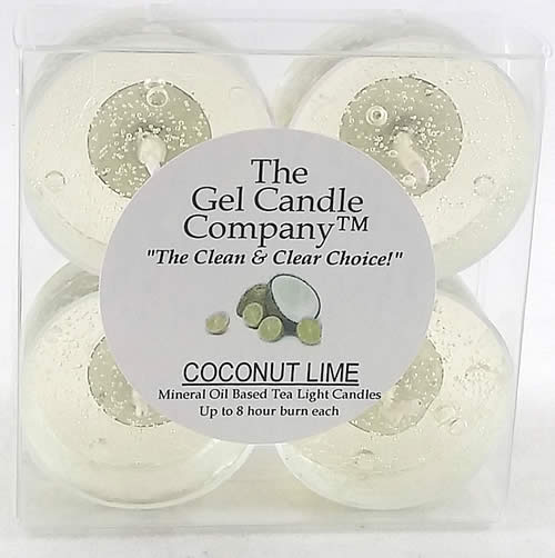 Coconut Lime Scented Gel Candle Tea Lights - 4 pk.