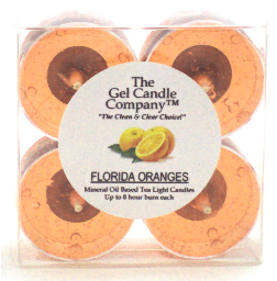 Florida Oranges Scented Gel Candle Tea Lights - 4 pk. - Click Image to Close