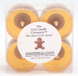 Gingerbread Cookie Scented Gel Candle Tea Lights - 4 pk. - Click Image to Close
