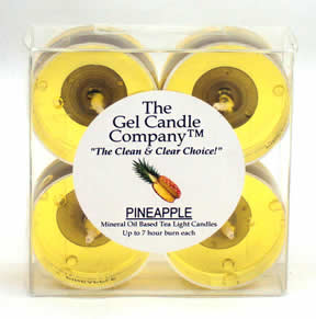Pineapple Scented Gel Candle Tea Lights - 4 pk.