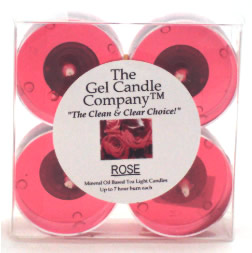 Rose Scented Gel Candle Tea Lights - 4 pk.