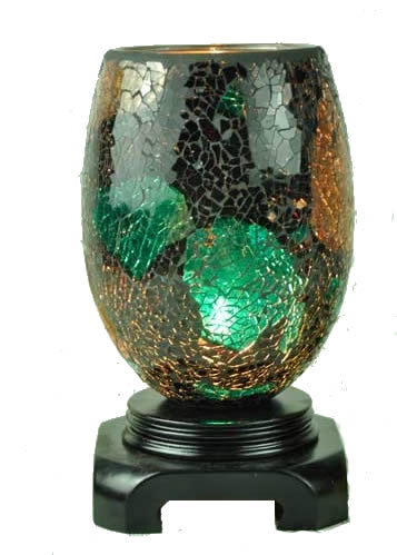 Large Decorative Cracked Glass Brown Green Warmer For Oils
